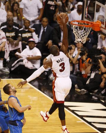 Dallas Mavericks v Miami Heat - Game Two, Miami, FL - JUNE 02: Dwyane Wade and Jose Juan Barea Photo by Issac Baldizon