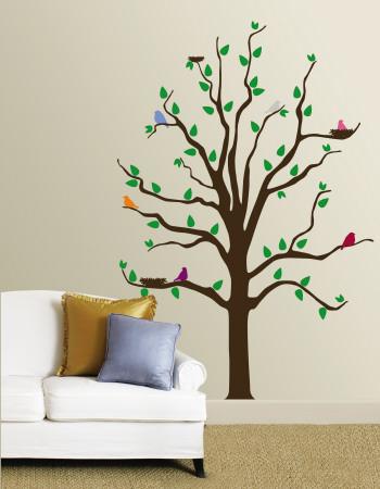 Tre med fugle i forskellige farver Wallstickers