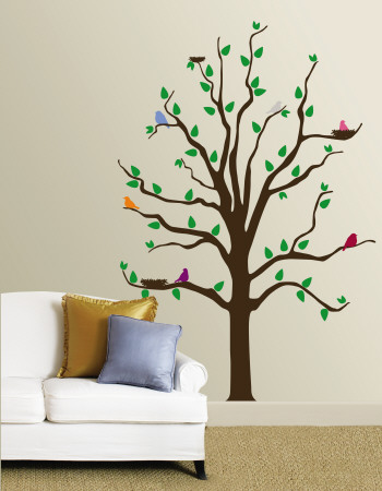 Tree With Multi-Colored Birds Mode (wallstickers)