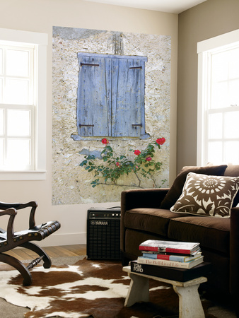 Window Shutters and Roses, Roquefixade, Ariege, Midi-Pyrenees, France Wall Mural by Doug Pearson