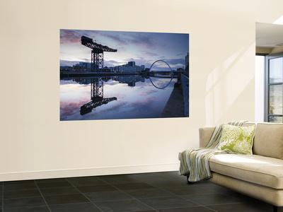 Scotland, Glasgow, Clydebank, the Finneston Crane and Modern Clydebank Skyline Wall Mural by Steve Vidler