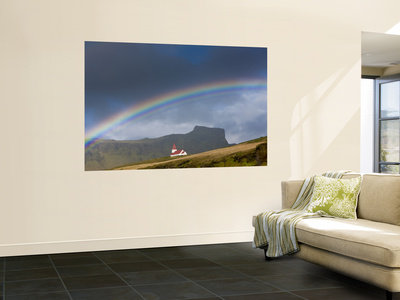 Rainbow over Church, Vik, Iceland Wall Mural by Peter Adams
