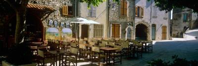 Sidewalk Cafe in a Village, Claviers, Var, Provence-Alpes-Cote D'Azur, France Photographic Print