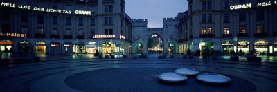 Buildings Lit Up at Dusk at a Town Square, Karlsplatz, Munich, Bavaria, Germany Photographic Print