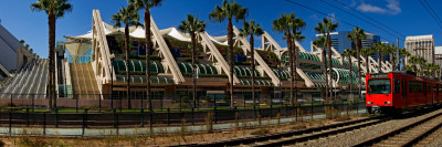 MTS Commuter Train Moving on Tracks, San Diego Convention Center, San Diego, California, USA Photographic Print
