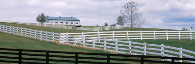 Barn And Fences in a Field, Lexington, Fayette County, Kentucky, USA Photographic Print
