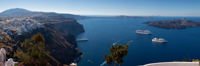 Cruise Ships in the Sea, Fira, Santorini, Cyclades Islands, Greece Photographic Print