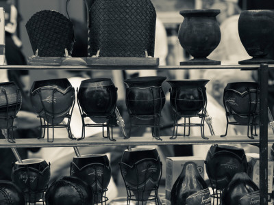 Mate Cups at a Market Stall, Plaza Constitucion, Montevideo, Uruguay Photographic Print