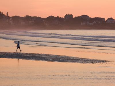 Man Walking on the Beach, Good Harbor Beach, Gloucester, Cape Ann, Massachusetts, USA Photographic Print