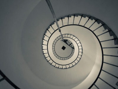 Spiral Staircase in a Lighthouse, Cabo Santa Maria Lighthouse, La Paloma, Rocha Department, Uruguay Photographic Print
