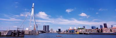 Bridge Across a River, Erasmus Bridge, Nieuwe Maas River, Noordereiland, Rotterdam, South Holland Photographic Print