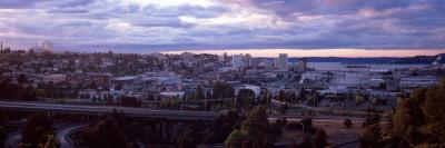 High Angle View of a City, Tacoma, Pierce County, Washington State, USA 2010 Photographic Print