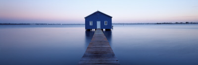 Pier Leading to a Boathouse, Swan River, Matilda Bay, Perth, Western Australia, Australia Photographic Print