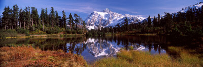 Reflection of Mountains in a Lake, Mt Shuksan, Picture Lake, North Cascades National Park Photographic Print