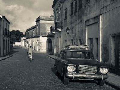 Car Parked in a Street, Calle San Jose, Colonia Del Sacramento, Uruguay Photographic Print