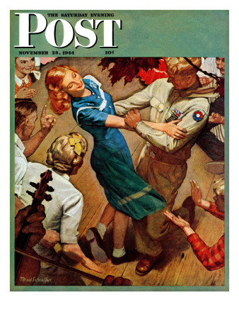 """""""Barn dance,"""" Saturday Evening Post Cover, November 25, 1944 Giclee Print by Mead Schaeffer"""