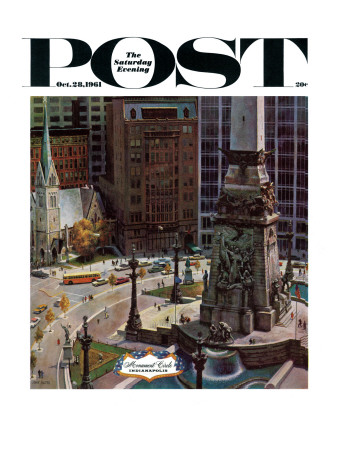 """""""Monument Circle,"""" Saturday Evening Post Cover, October 28, 1961 Giclee Print by John Falter"""
