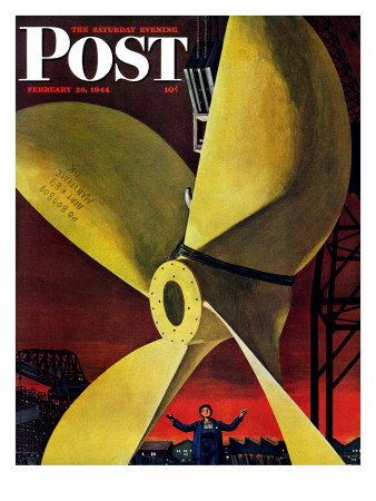 """Ships Propeller,"" Saturday Evening Post Cover, February 26, 1944 Giclee Print by Fred Ludekens"