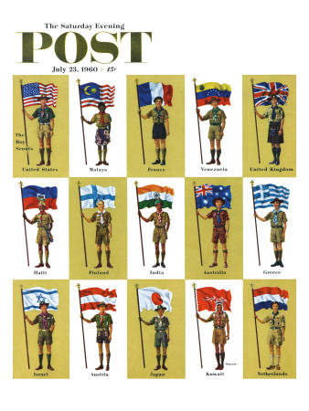 """""""International Boy Scouts,"""" Saturday Evening Post Cover, July 23, 1960 Giclee Print by James Lewicki"""