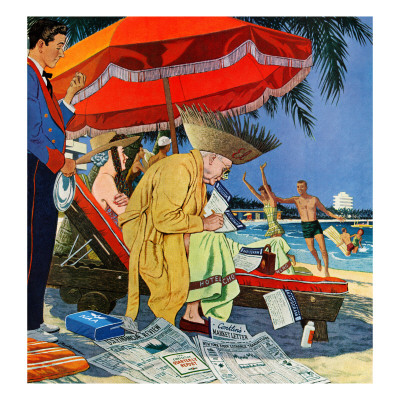 """""""Business at the Beach,"""" January 23, 1960 Giclee Print by James Williamson"""