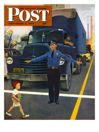 """""""Traffic Cop,"""" Saturday Evening Post Cover, September 3, 1949 Giclee Print by George Hughes"""