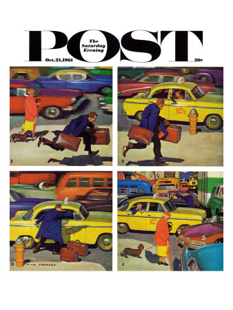 """""""Rush Hour (4 panel),"""" Saturday Evening Post Cover, October 21, 1961 Giclee Print by Richard Sargent"""