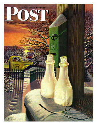 """""""Frozen Milk,"""" Saturday Evening Post Cover, January 8, 1944 Giclee Print by Stevan Dohanos"""