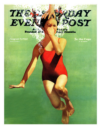 """""""Dunked Under Water,"""" Saturday Evening Post Cover, August 9, 1941 Giclee Print by John Hyde Phillips"""