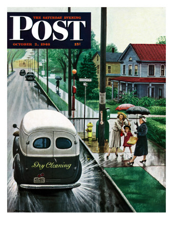 """""""Muddied by Dry Cleaning Truck,"""" Saturday Evening Post Cover, October 2, 1948 Giclee Print by Stevan Dohanos"""