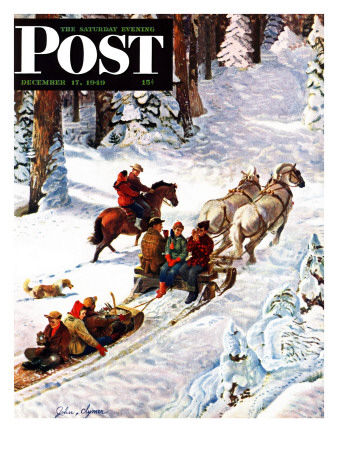 """Winter Sleigh Ride,"" Saturday Evening Post Cover, December 17, 1949 Giclee Print by John Clymer"