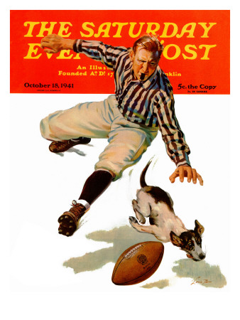 """""""Dog on the Field,"""" Saturday Evening Post Cover, October 18, 1941 Giclee Print by Lonie Bee"""