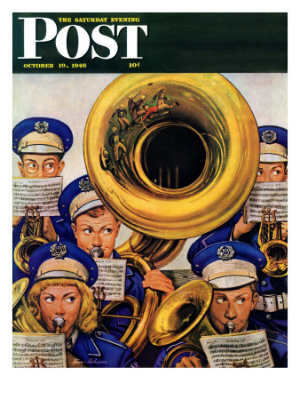 """""""March Band at Football Game,"""" Saturday Evening Post Cover, October 19, 1946 Giclee Print by Stevan Dohanos"""