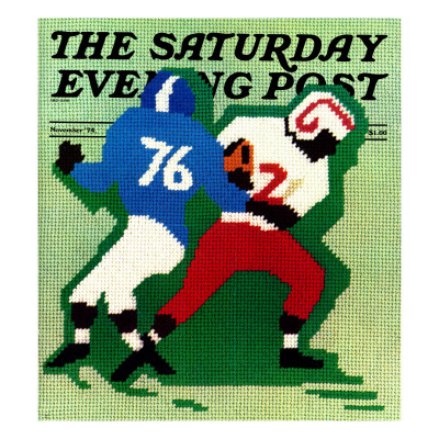 """"""" Needlepoint,"""" Saturday Evening Post Cover, November 1, 1974 Giclee Print by R. Heitman"""