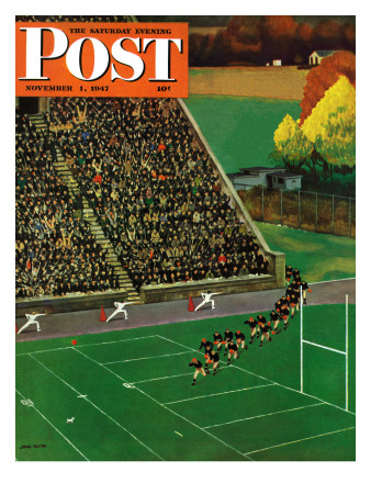 """Onto the Field,"" Saturday Evening Post Cover, November 1, 1947 Giclee Print by John Falter"