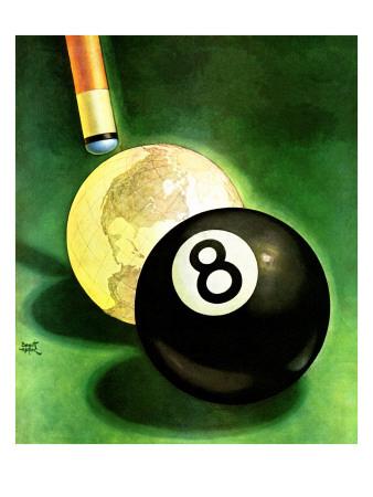 """World as Cue Ball,"" January 25, 1941 Giclee Print by Emmett Watson"