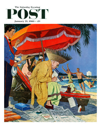 """""""Business at the Beach,"""" Saturday Evening Post Cover, January 23, 1960 Giclee Print by James Williamson"""