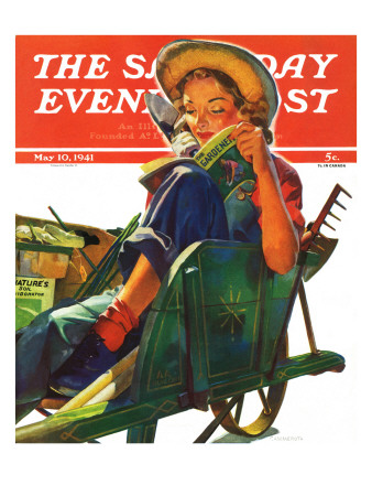 """""""Gardener in Wheelbarrow,"""" Saturday Evening Post Cover, May 10, 1941 Giclee Print by Dominice Cammerota"""