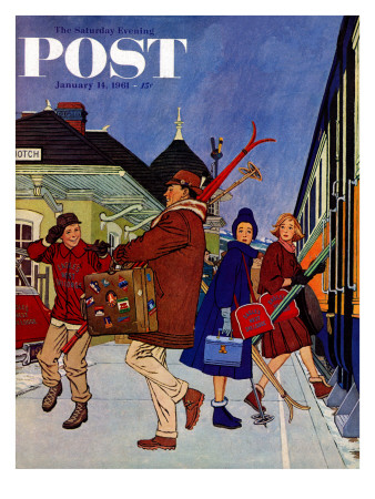"""""""Wrong Week at the Ski Resort,"""" Saturday Evening Post Cover, January 14, 1961 Giclee Print by James Williamson"""