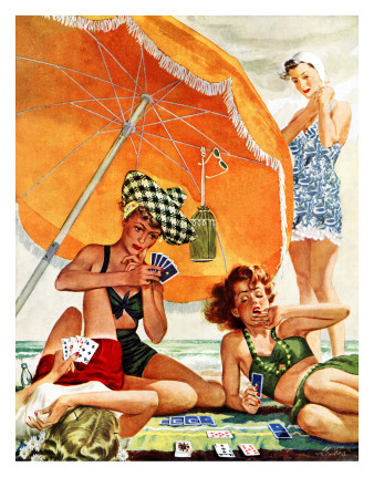 """""""Card Game at the Beach,"""" August 28, 1943 Giclee Print by Alex Ross"""