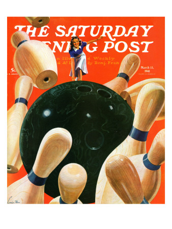 """""""Bowling Strike,"""" Saturday Evening Post Cover, March 15, 1941 Giclee Print by Lonie Bee"""