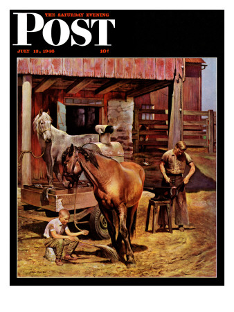 """""""Blacksmith,"""" Saturday Evening Post Cover, July 13, 1946 Giclee Print by John Falter"""