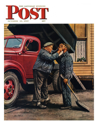 """""""Speck of Coal,"""" Saturday Evening Post Cover, October 18, 1947 Giclee Print by Stevan Dohanos"""