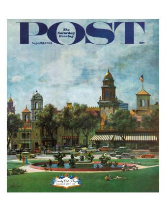 """Kansas City,"" Saturday Evening Post Cover, September 23, 1961 Giclee Print by John Falter"