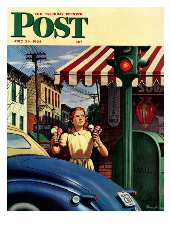 """Dripping Cones,"" Saturday Evening Post Cover, July 29, 1944 Stampa giclée di Stevan Dohanos"