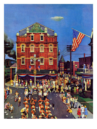 """""""Independence Parade,"""" July 7, 1945 Giclee Print by John Falter"""