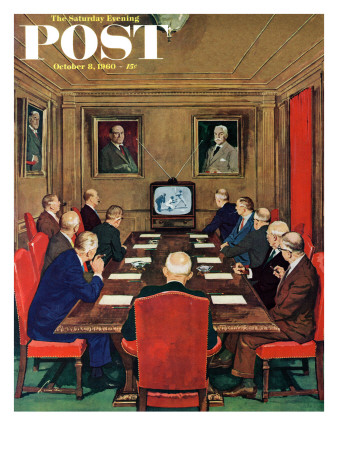 """""""Baseball in the Boardroom,"""" Saturday Evening Post Cover, October 8, 1960 Giclee Print by Lonie Bee"""