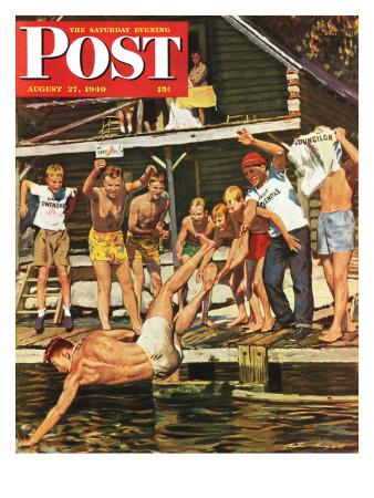 """""""Wet Camp Counselor,"""" Saturday Evening Post Cover, August 27, 1949 Giclee Print by Austin Briggs"""