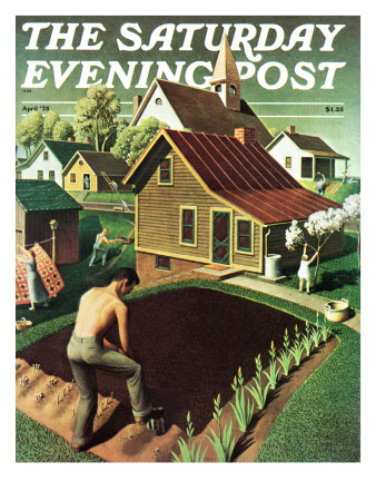 """Re print of ""Spring 1942"","" Saturday Evening Post Cover, April 18, 1942 Giclee Print by Grant Wood"