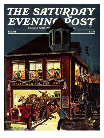 """Fireman's Ball,"" Saturday Evening Post Cover, February 1, 1982 Giclee Print by Ben Kimberly Prins"