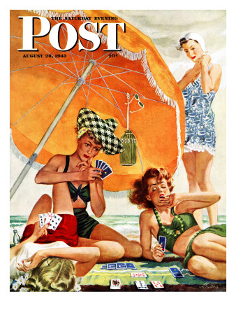 """Card Game at the Beach,"" Saturday Evening Post Cover, August 28, 1943 Giclee Print by Alex Ross"